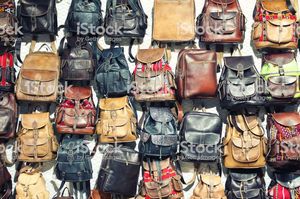 Backpacks Background Shop Window Stock Photo   Download Image Now 1024x682