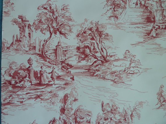 SALE Vintage wallpaper red French country Toile good condition 20 570x427
