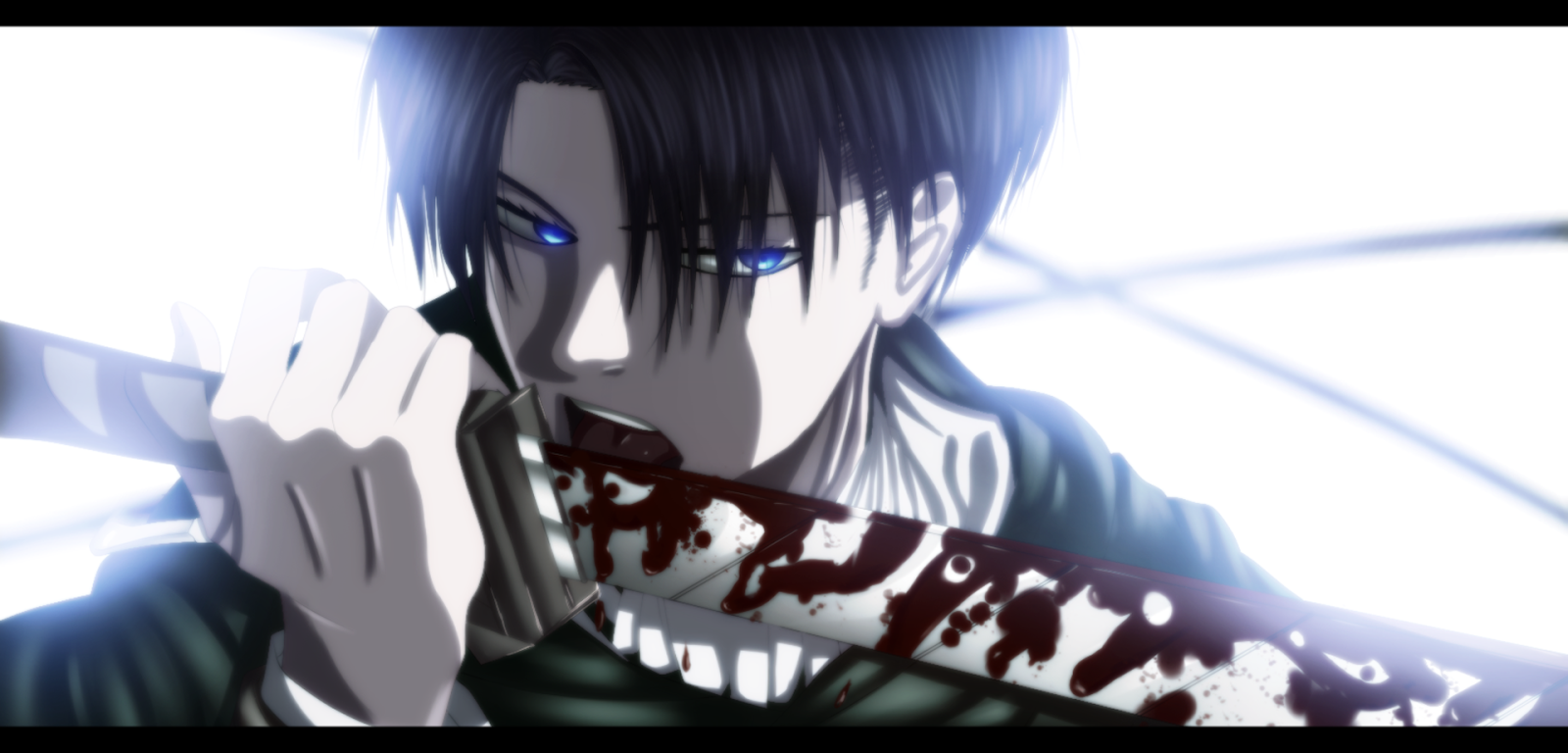 Levi Anime Blade Blood Stain HD Wallpaper Desktop PC Background 1352 1600x768