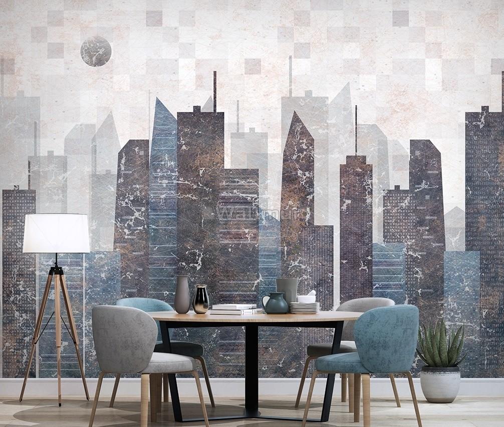 Vintage Geometric City Wallpaper Mural Wallmur 1006x854