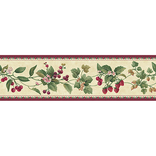 Blue Mountain Floral and Berry Wallpaper Border BurgundyBeige 500x500