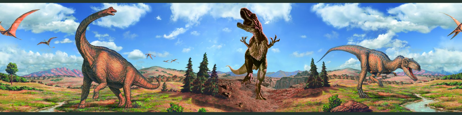 Dinosaur Peel and Stick Kids Wallpaper Border 1600x400