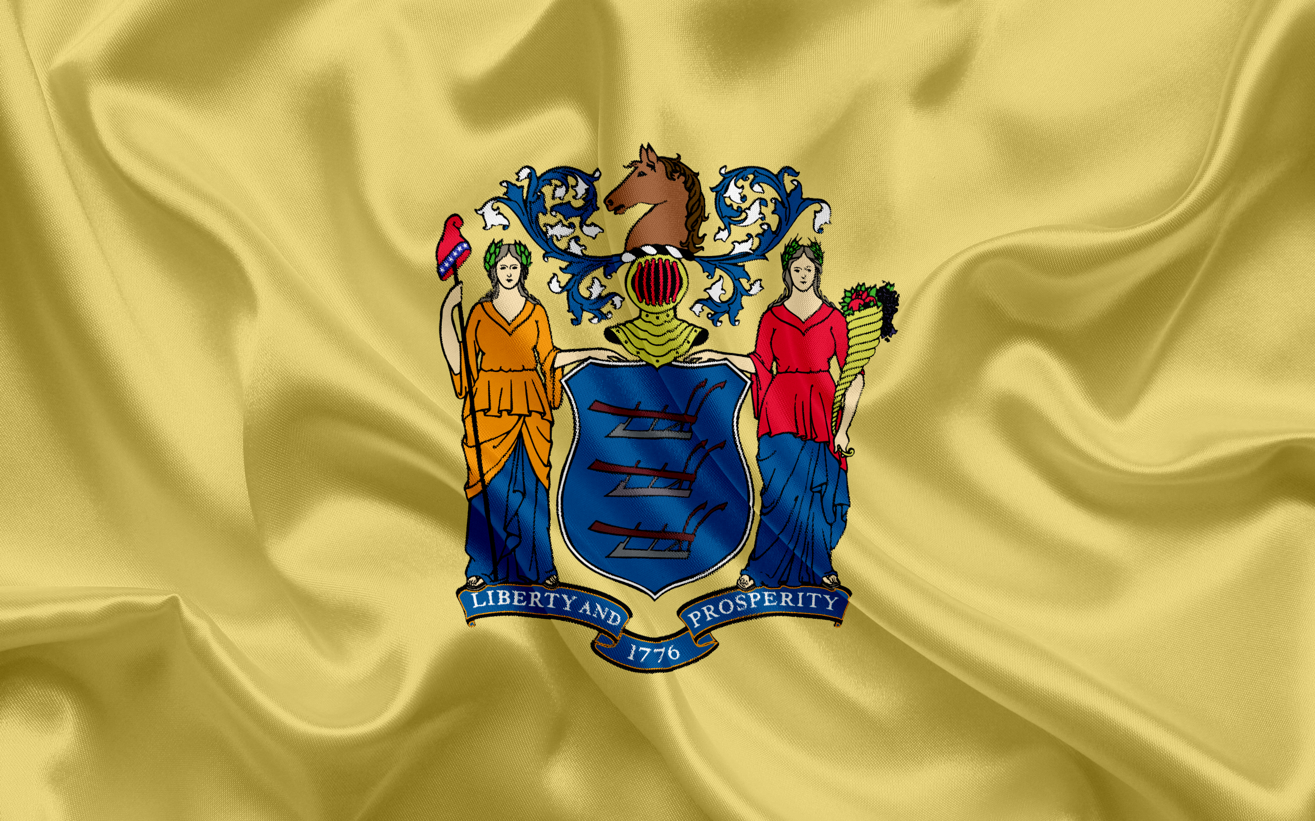 Download wallpapers New Jersey State Flag flags of States flag 2560x1600