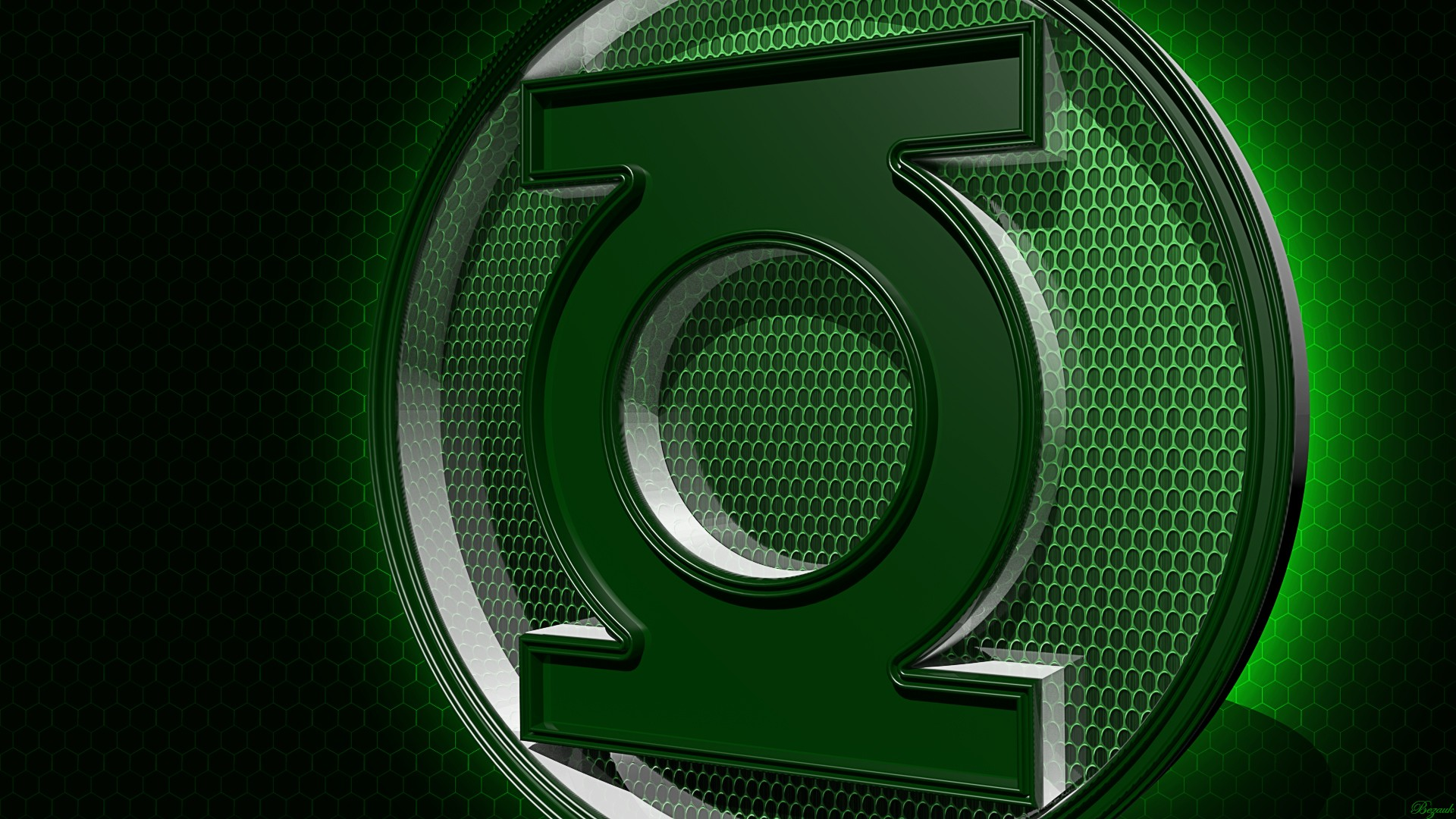 Green Lantern 1080p 3d art by bezauk 1920x1080