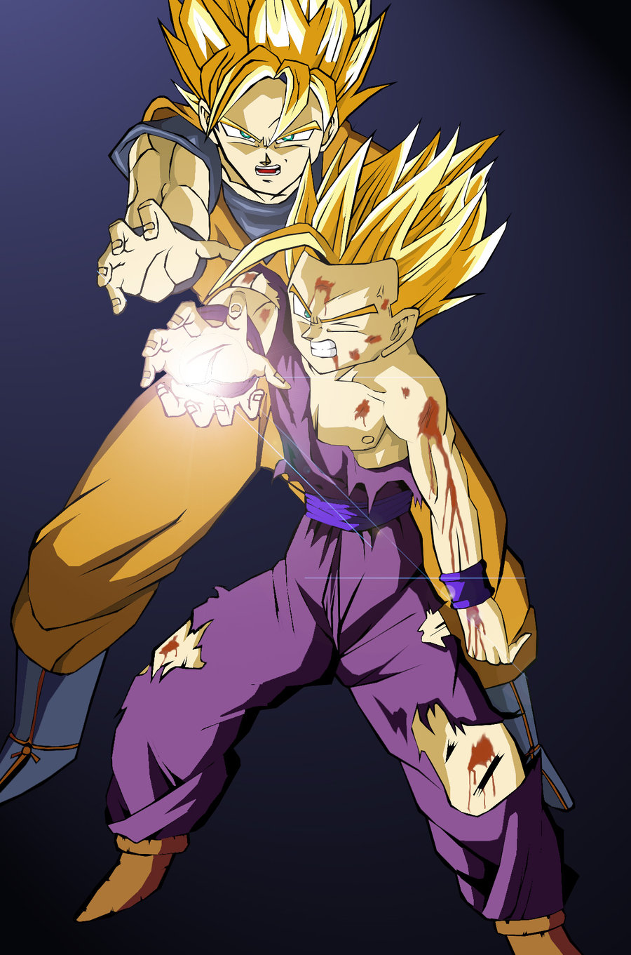 goku gohan kamehameha coloured by eyfu64 900x1361