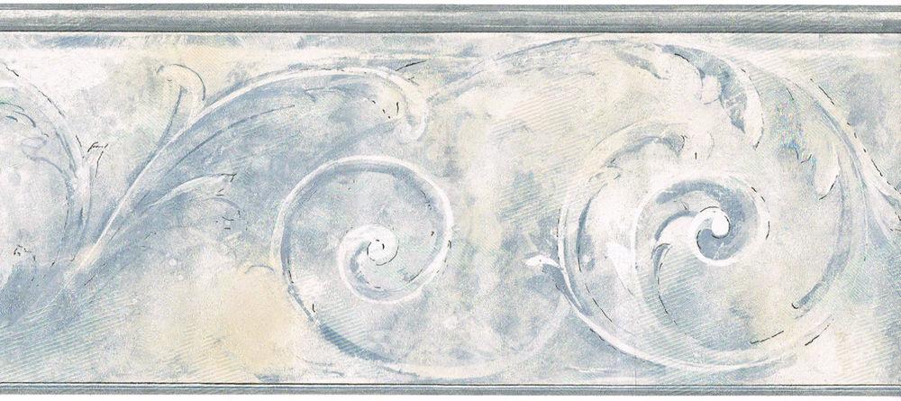 Acanthus Leaf Scroll Light Blue Grey Wall Paper Border eBay 1000x445