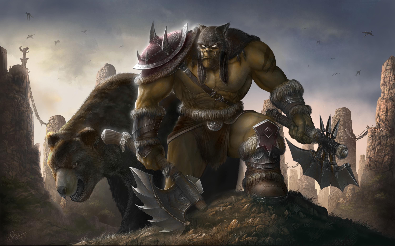 WarCraft WoW Warrior beastmaster Battle axes Games Fantasy wallpaper 3000x1875