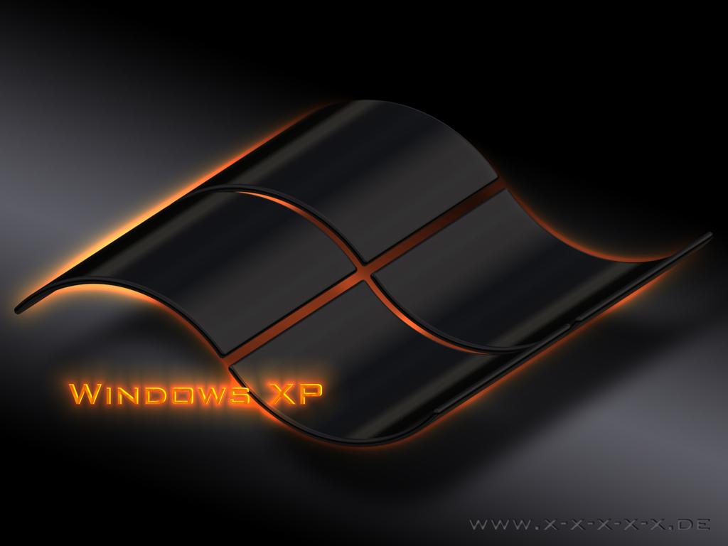 Black desktop wallpaper WIndows XP with orange fire 1024x768