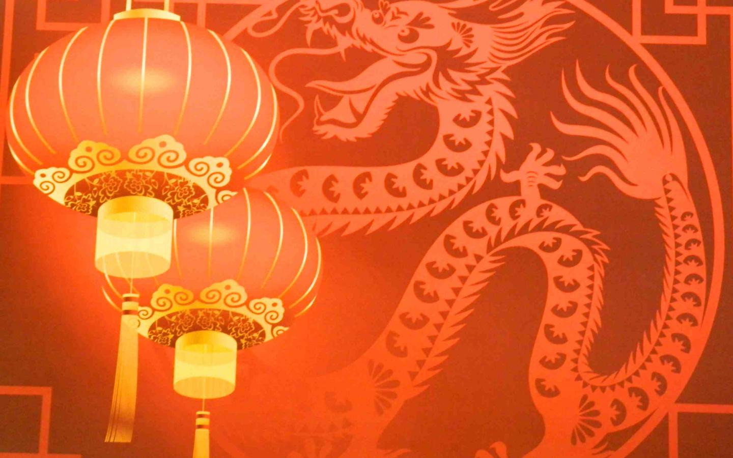 Chinese New Year Card Design with Lantern and Dragon 1440x900