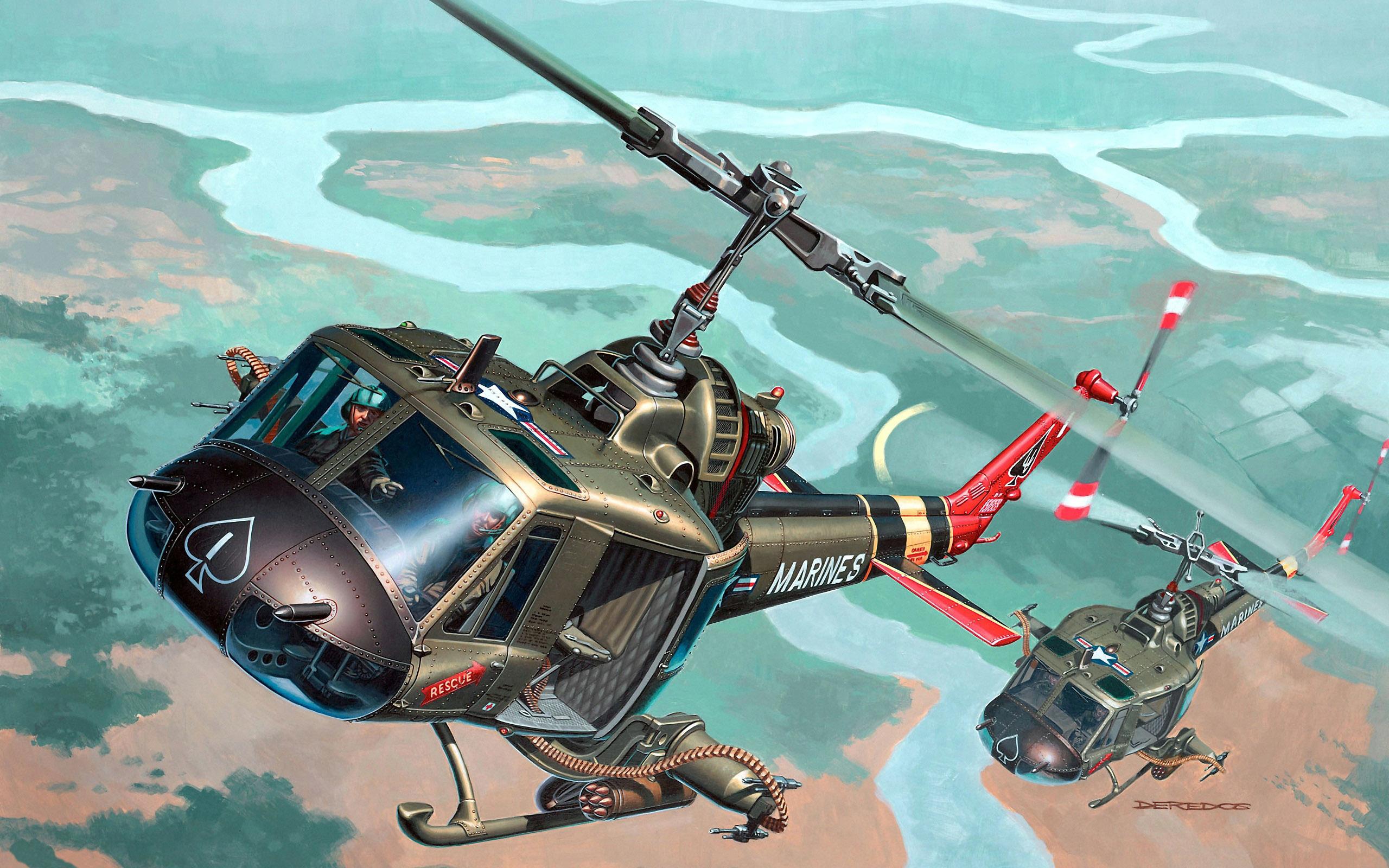 Wallpaper art helicopter bell uh 1 huey hog iroquois iroquois 2560x1600