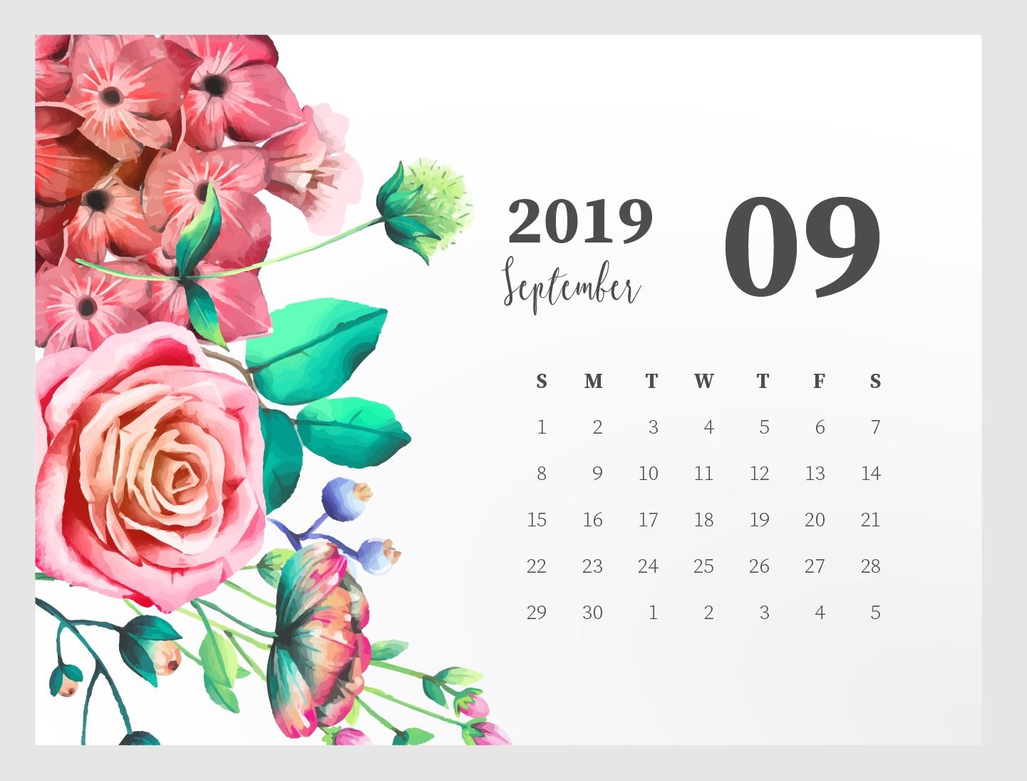 September 2019 Calendar Printable Blank Templates PDF Page 1441x1095