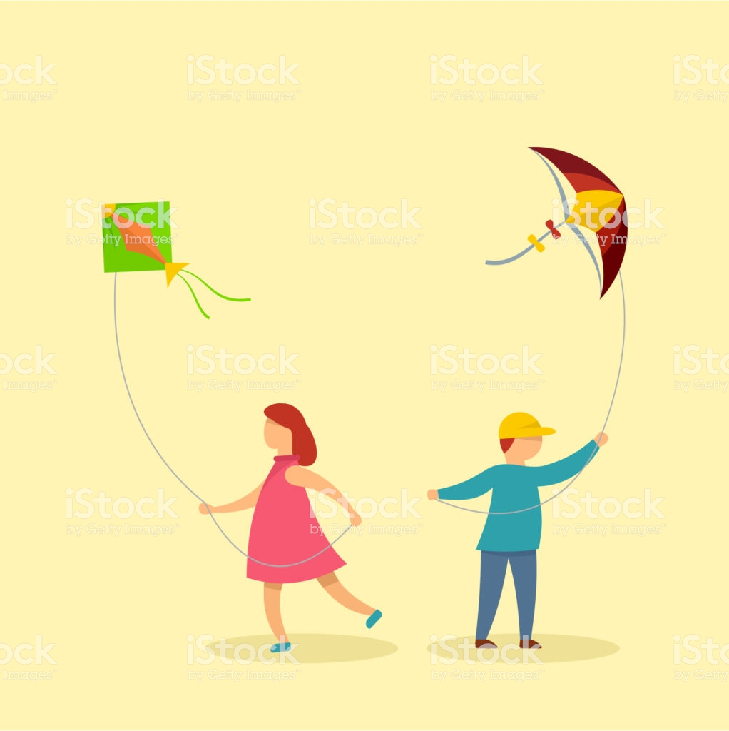Children With Kites Background Flat Style Stock Vector Art More 1022x1024