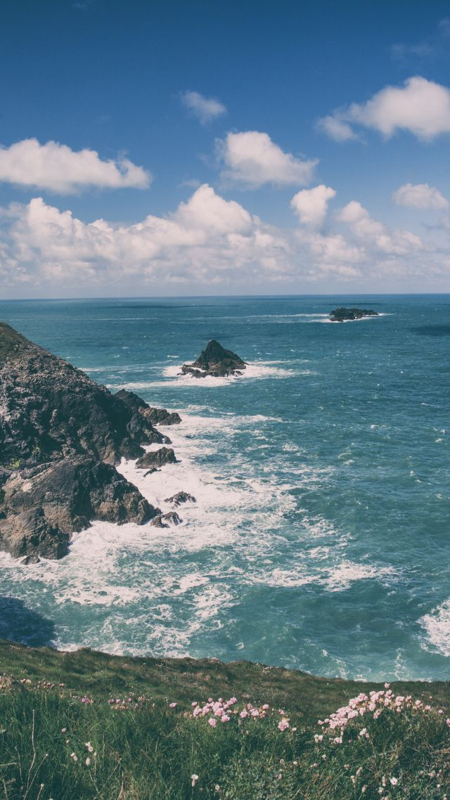 Wallpaper Cornwall 5k 4k wallpaper England coastline rocks 640x1138