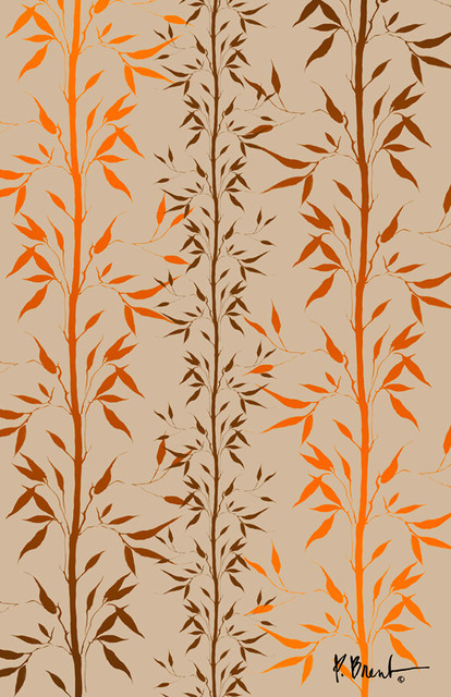 Bamboo Orange Tan Wall Mural   Contemporary   Wallpaper   by Murals 414x640