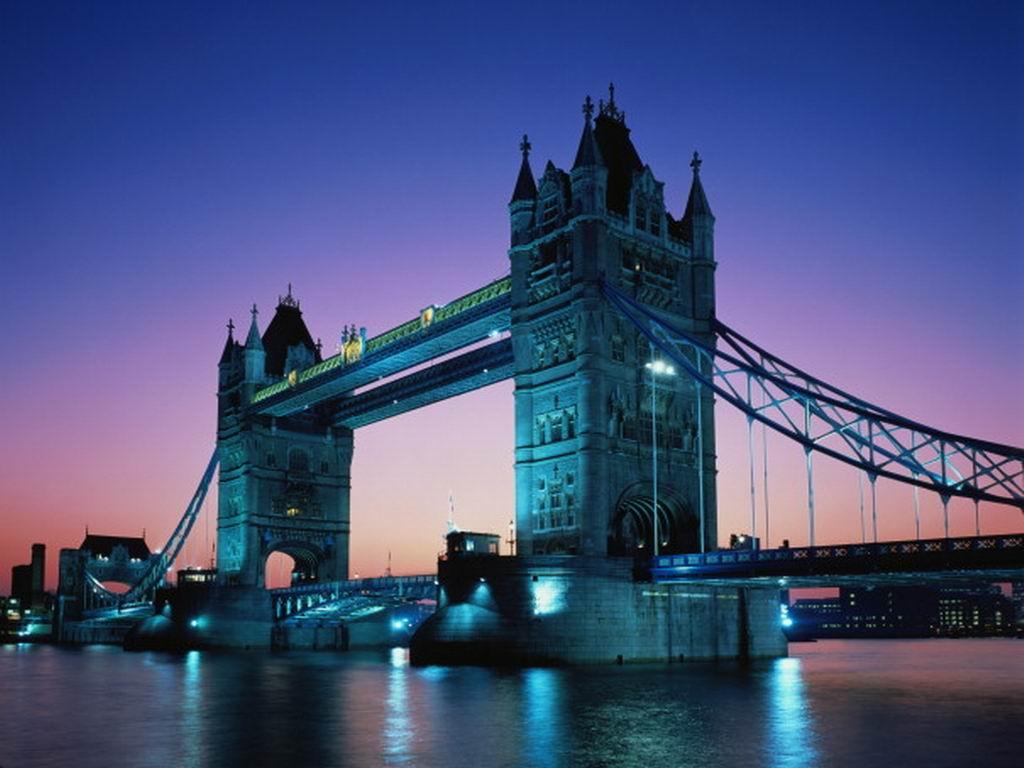 Wallpaper night river London bridge United Kingdom Thames Tower 1024x768