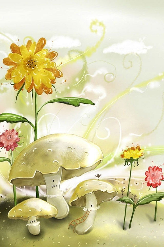 download cute flower mushroom vector wallpapers for iphone 4s 640x960