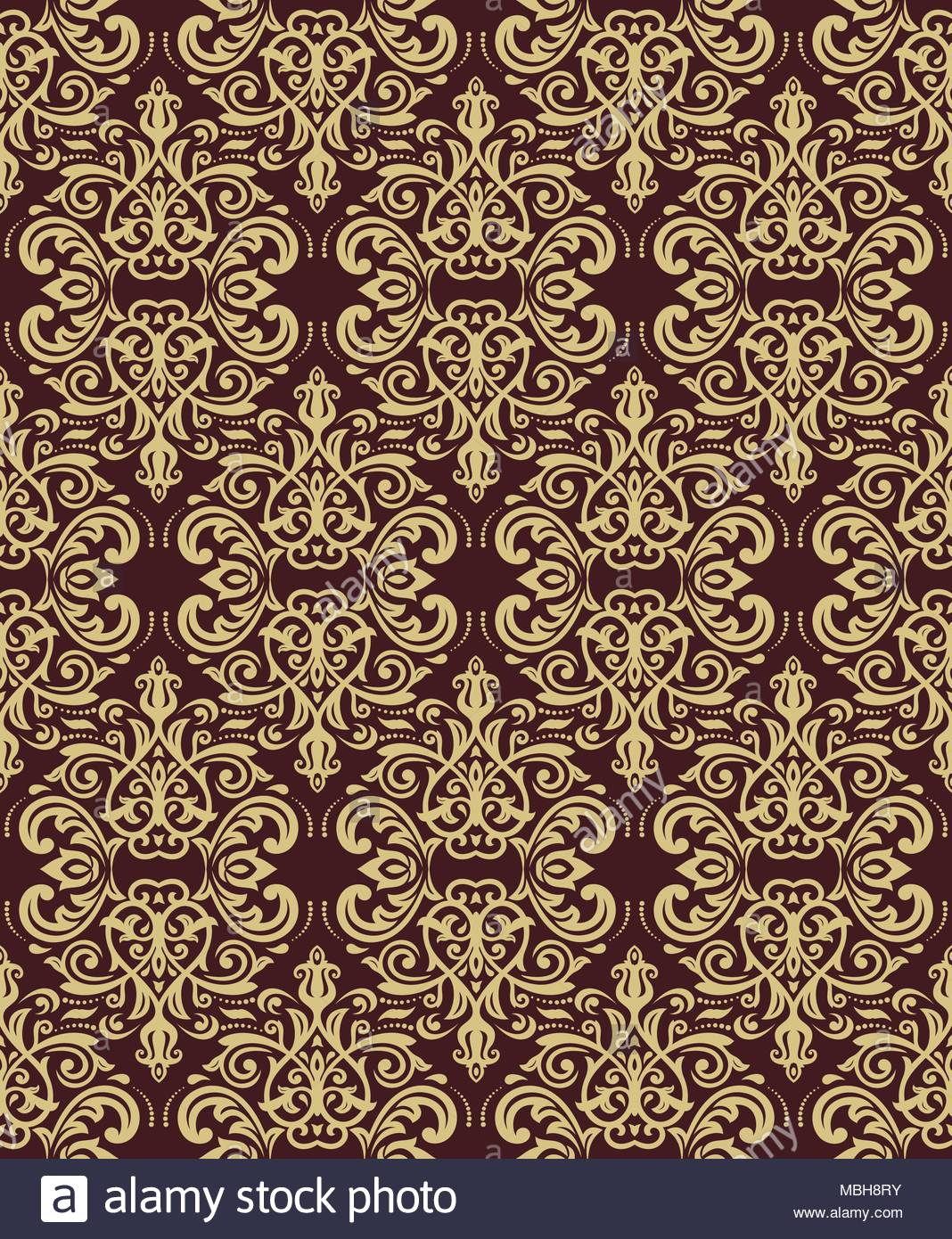 Classic seamless vector pattern Damask orient brown and golden 1068x1390
