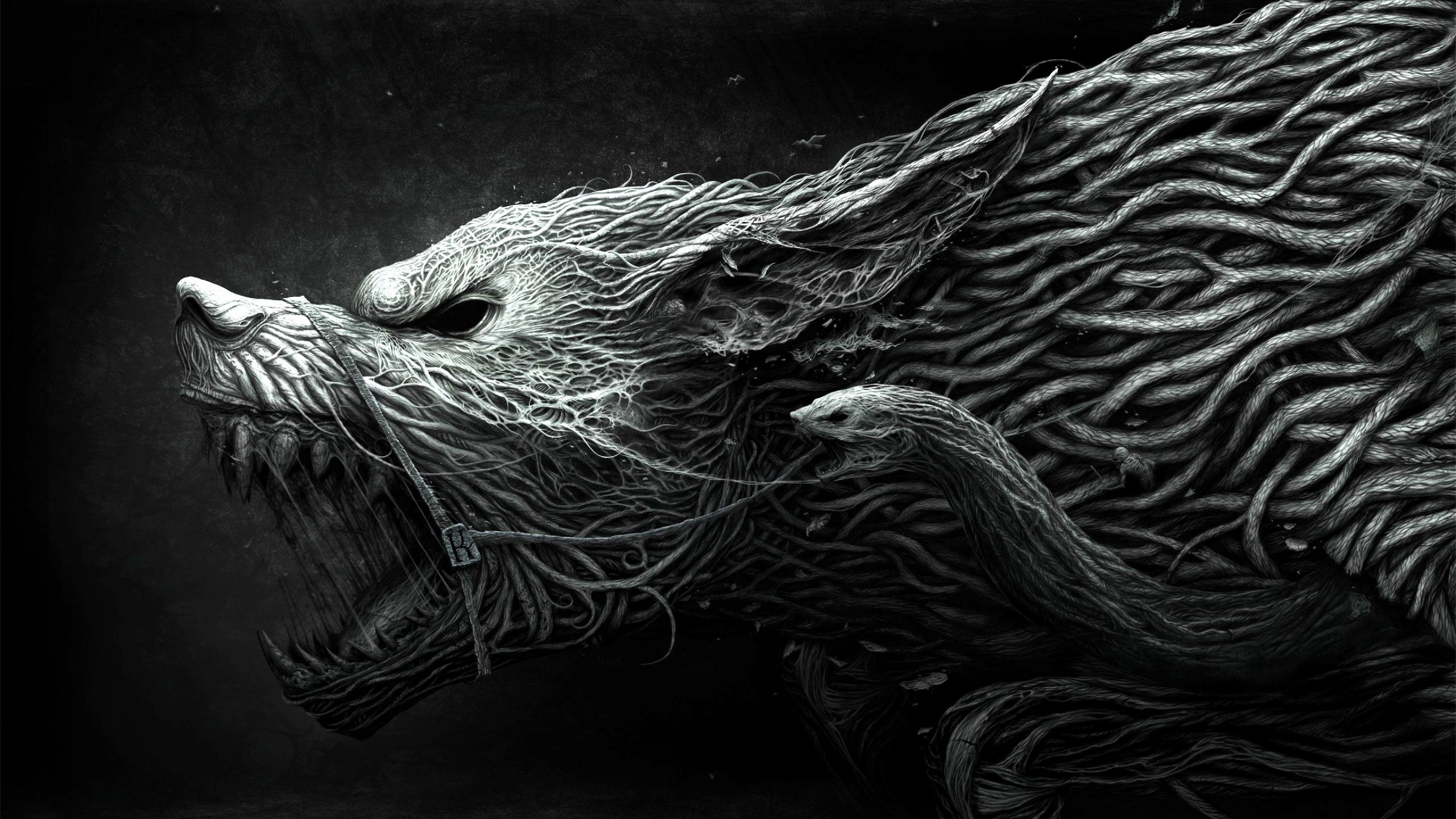 Wallpaper Wolf Hellhound art black and white dangerous noise 2560x1440