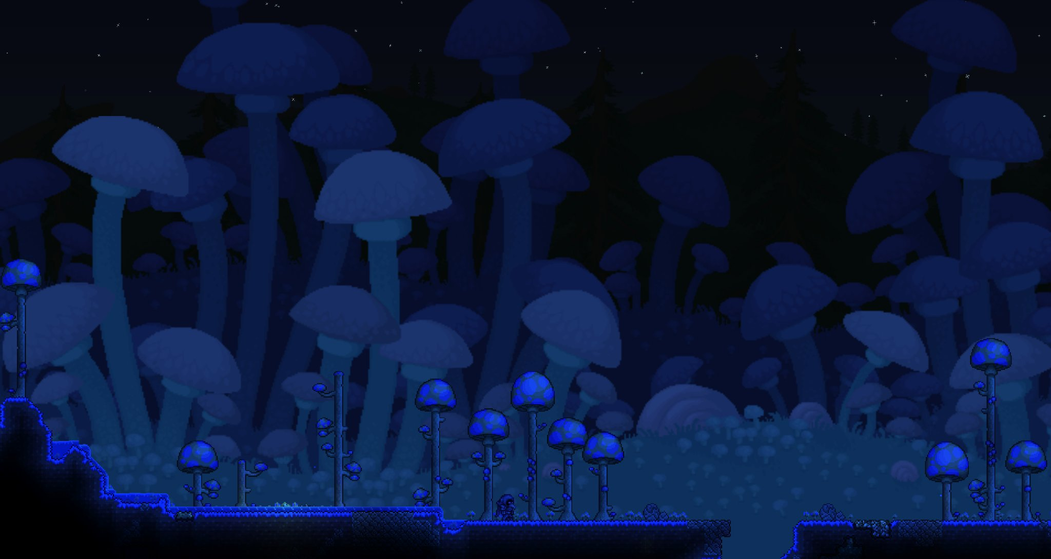 New Mushroom Biome background for 136 Terraria 2048x1090