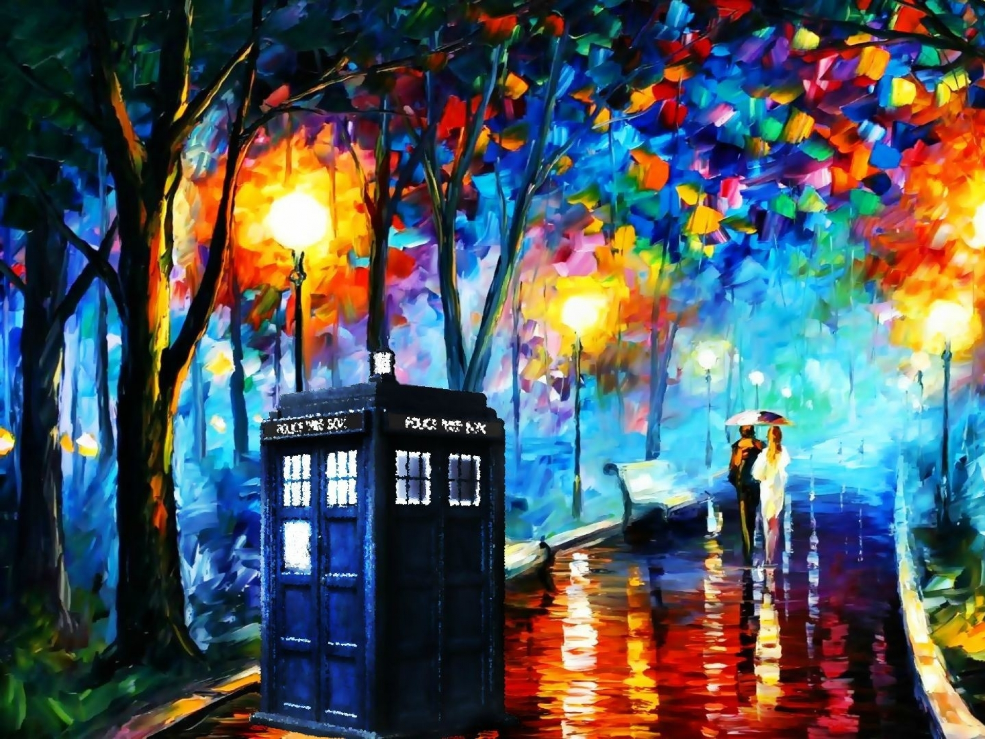 tardis leonid afremov doctor who 1915x1079 wallpaper Art HD Wallpaper 1920x1440