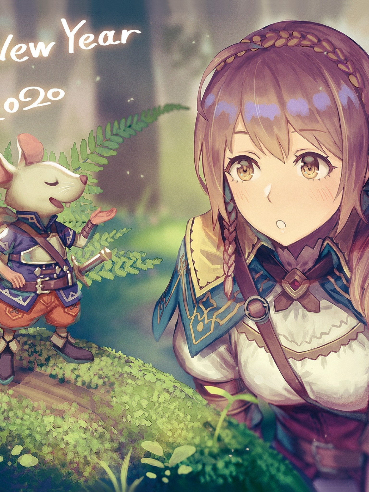 Download 1536x2048 Anime Girl Adventurer Forest Light Armor 1536x2048