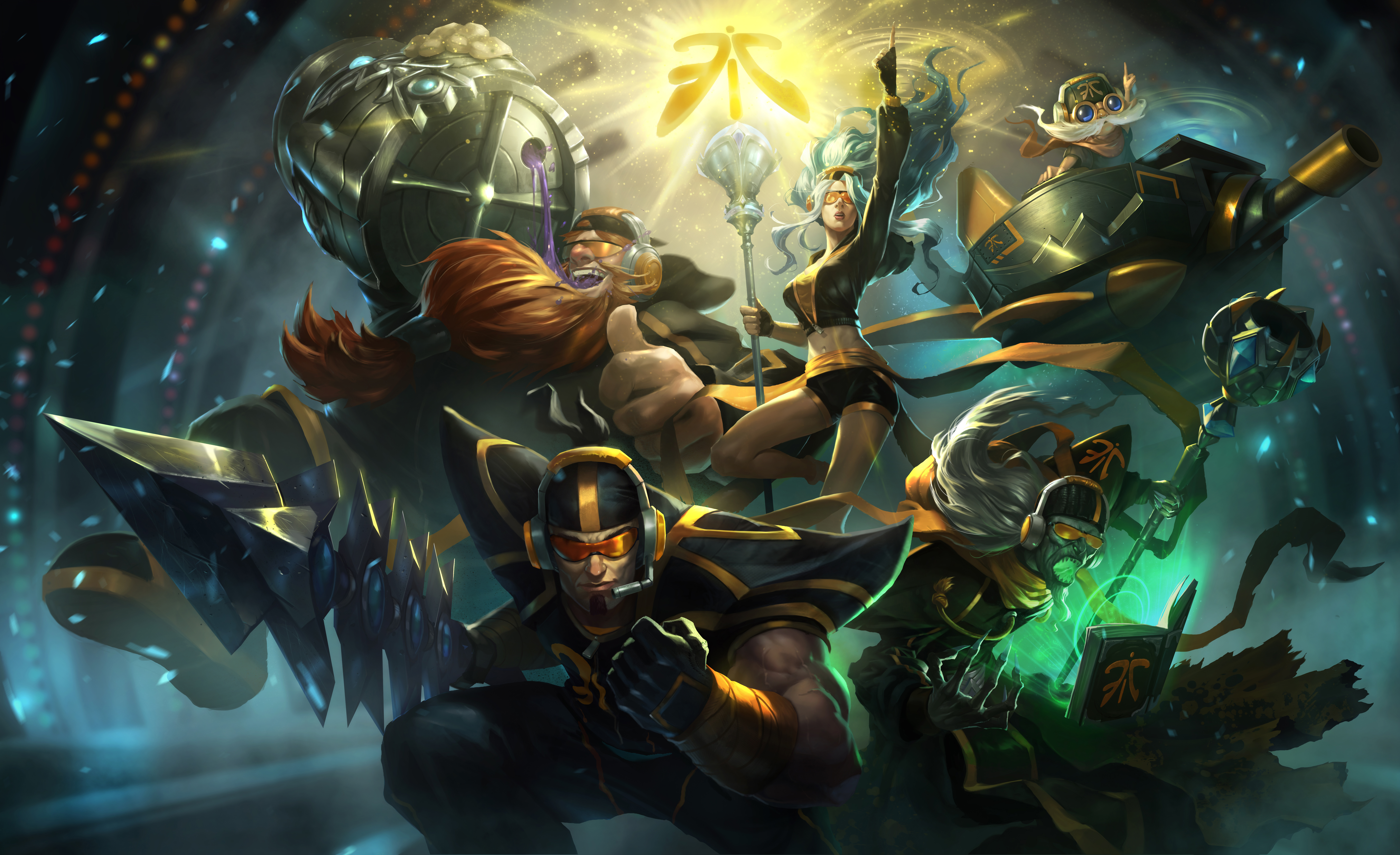 Fnatic Gragas Karthus Corki Jarvan IV Janna LoL Wallpapers 10000x6105