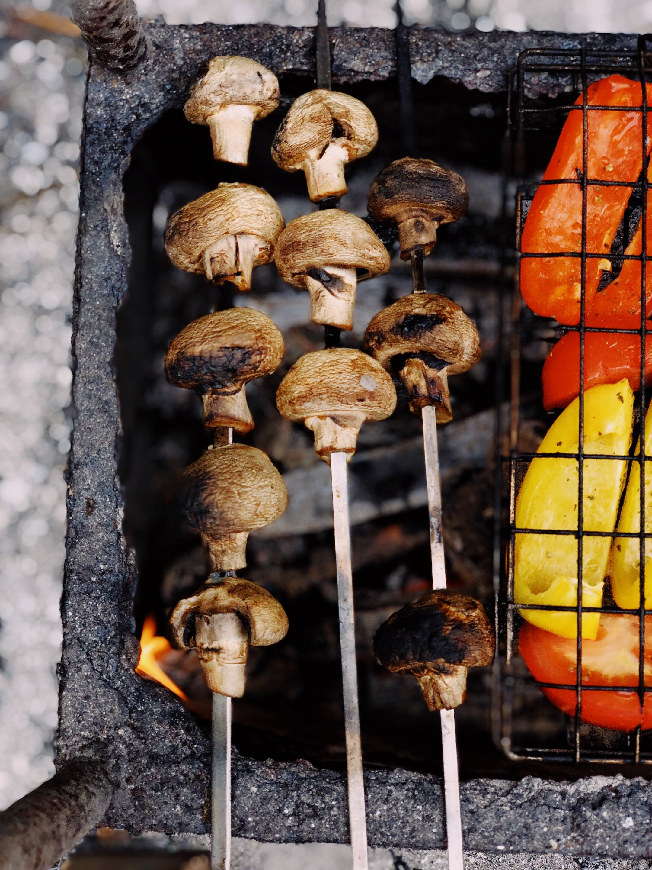 Grilled Mushrooms On Charcoal Grill   Stock Photo Image 2160x2880
