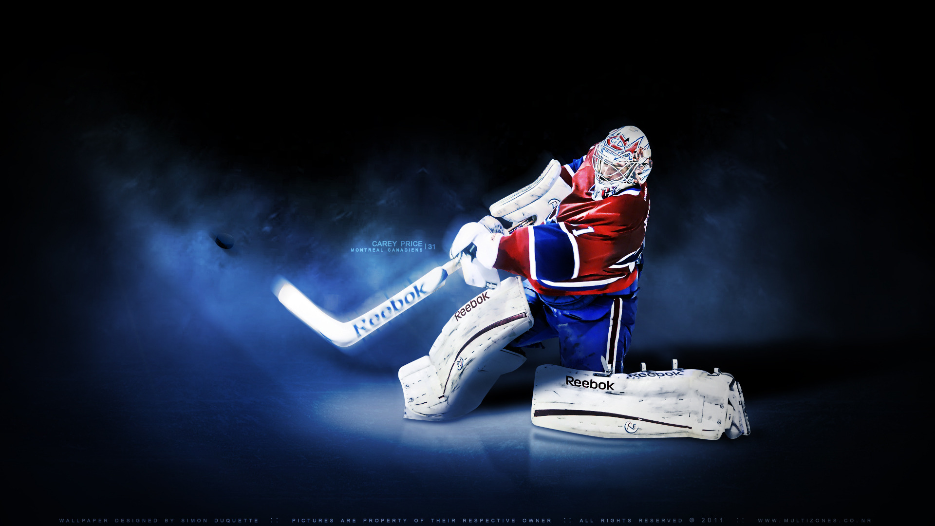 An NHL Wallpaper featuring Montreal Canadiens goaltender Carey Price 1920x1080