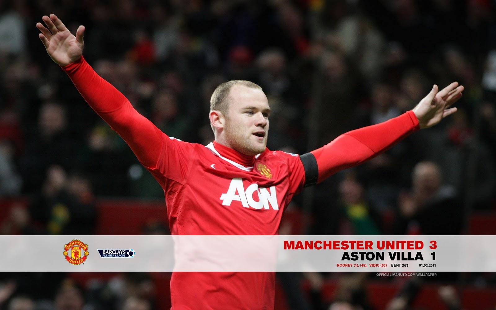 Man Utd v Aston Villa Official Wallpaper 20102011 Man Utd 3 Rooney 1600x1000