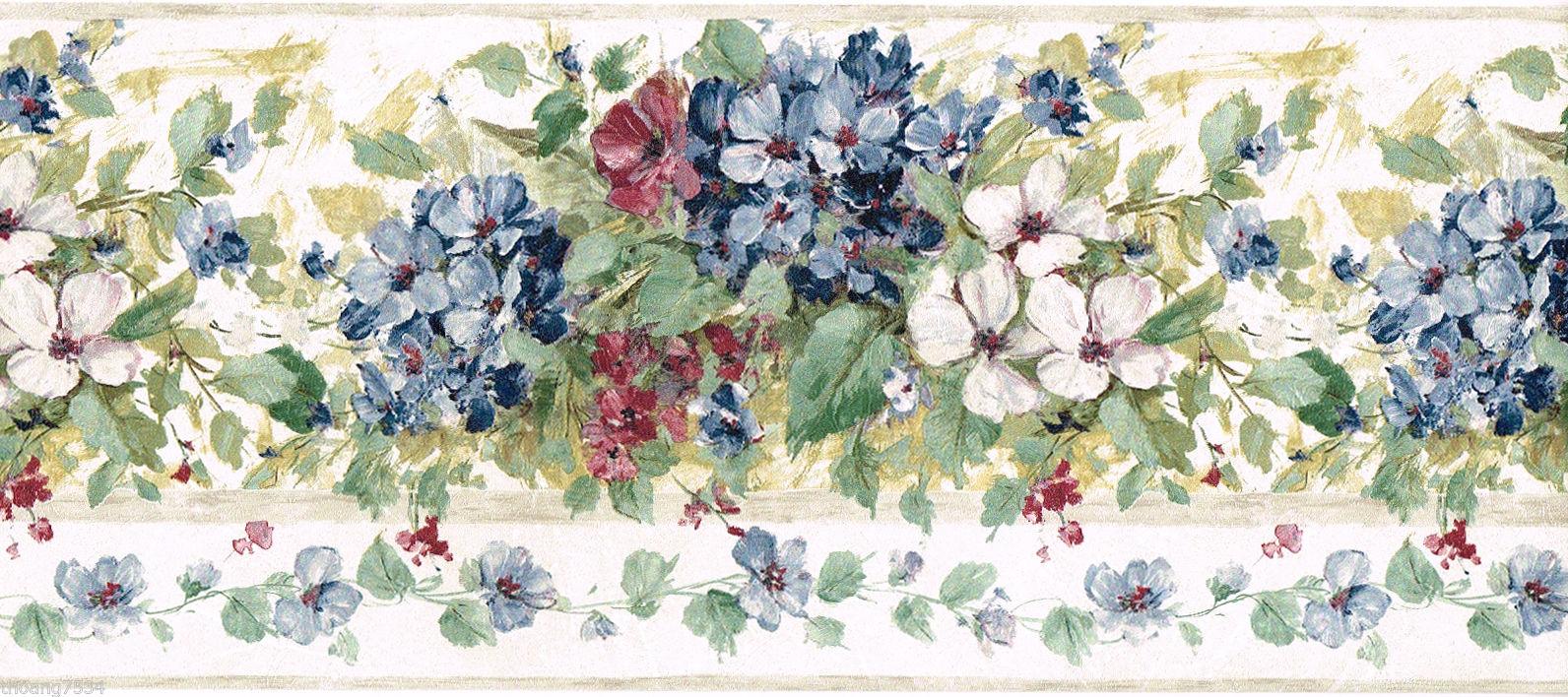 Blue Burgundy Hydrangea Flower Floral Green Leaf Brush Stroke Wall 1592x708