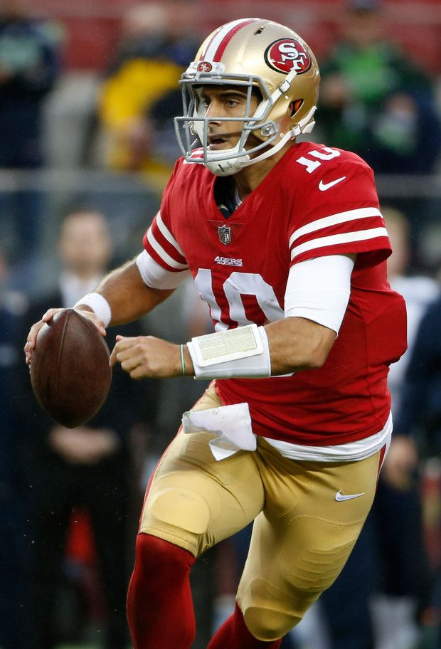 San Francisco 49ers quarterback Jimmy Garoppolo 10 rolls out 620x912