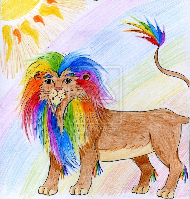 Rainbow Lion by Wildschweinmama 800x841