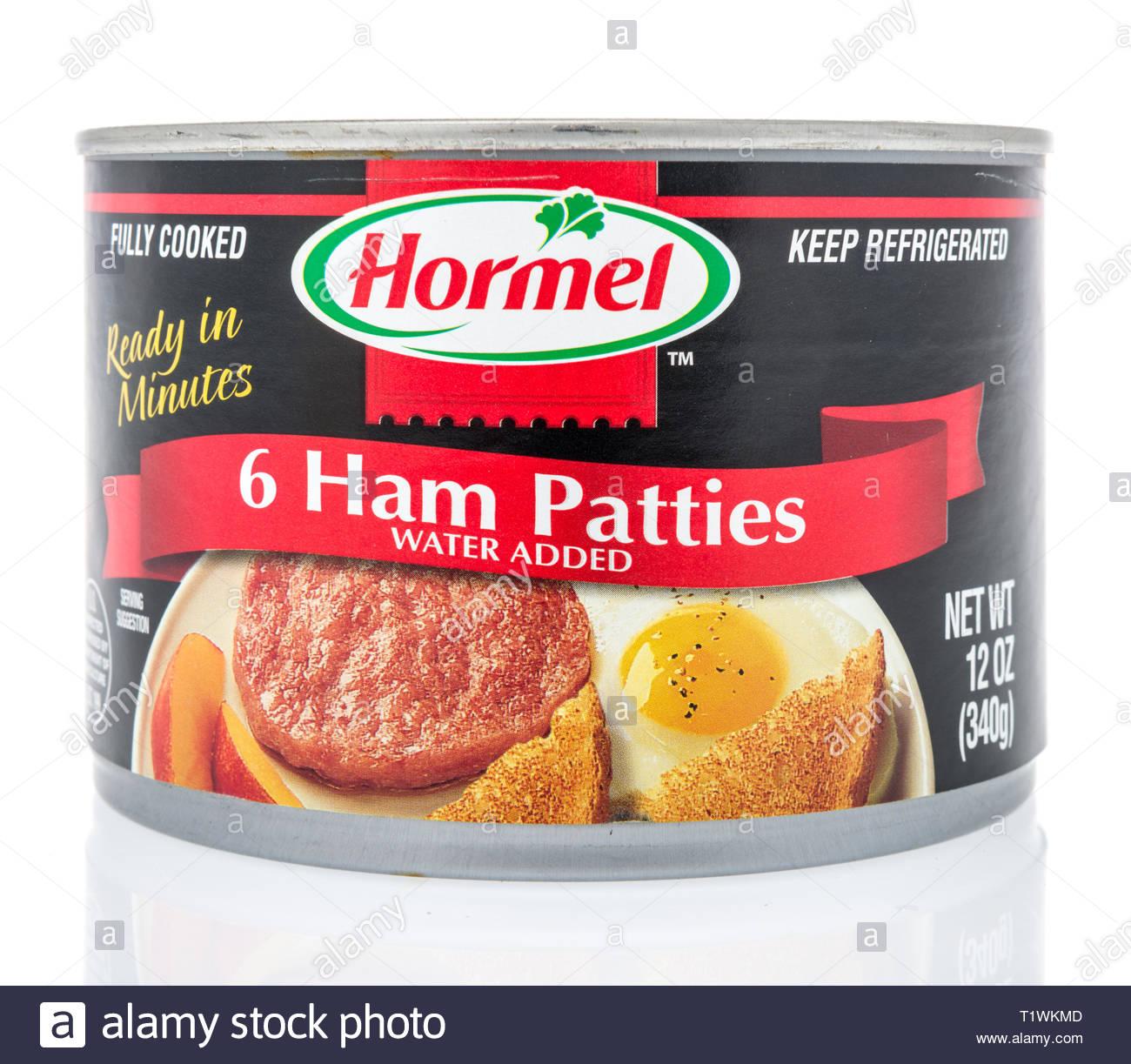 Winneconne WI   24 March 2019 A package of Hormel ham patties on 1300x1223