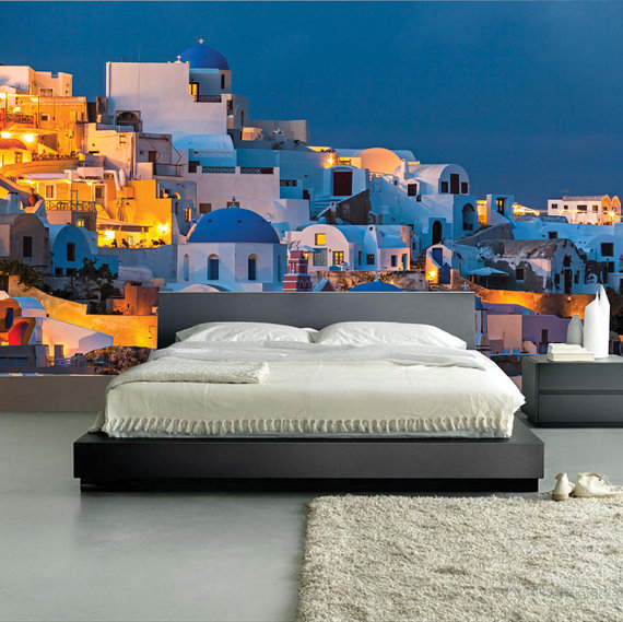 MURAL Santorini Sunset Wall Paper Self Adhesive Wall Covering Peel 570x569