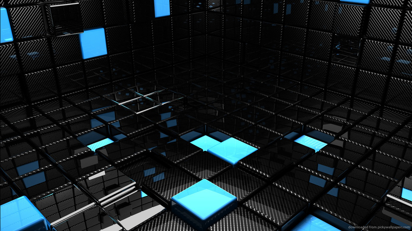 Download 1366x768 Chrome And Blue 3D Room Wallpaper 1366x768