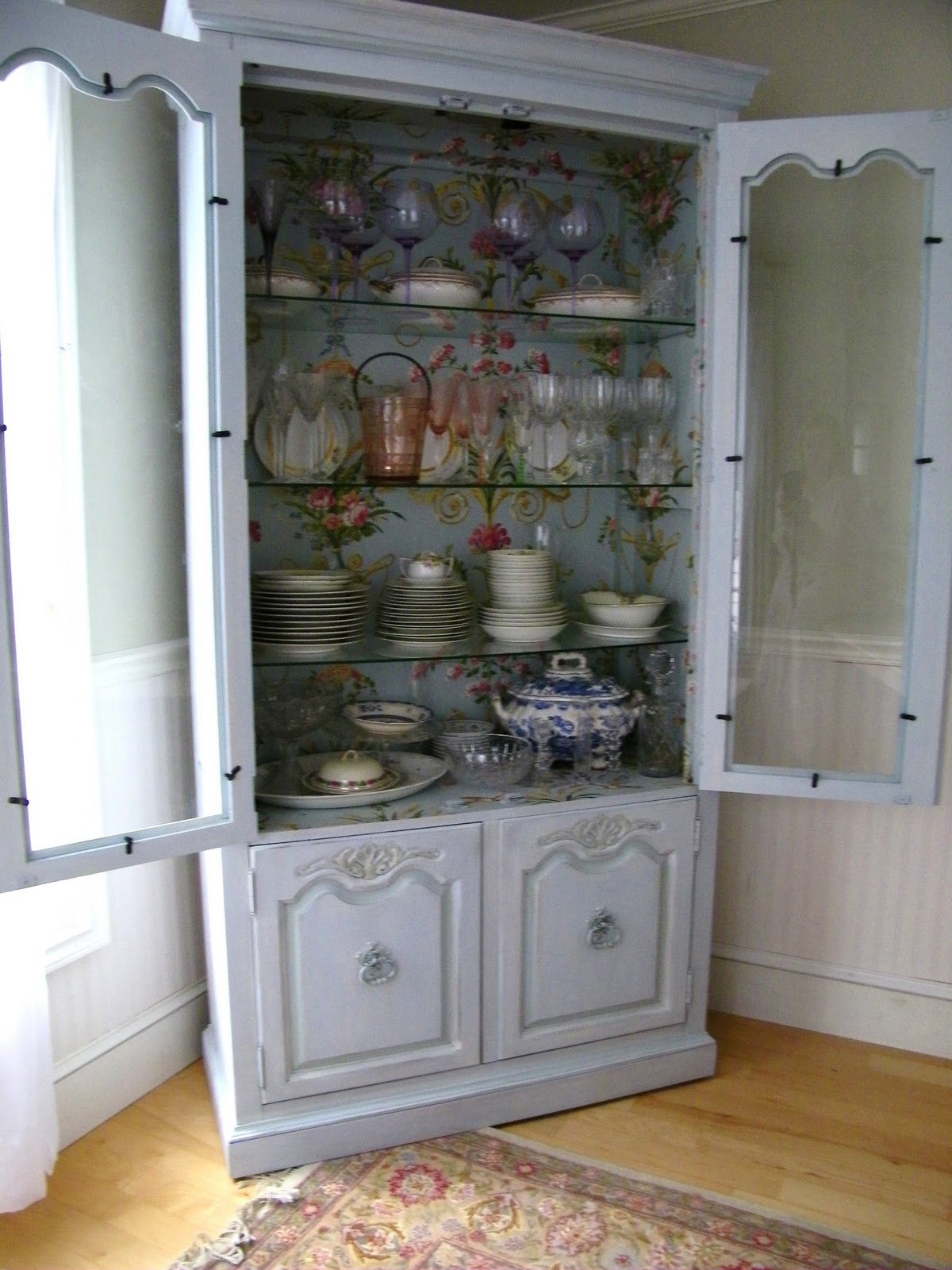 My china cabinet with wallpapered interior 1200x1600
