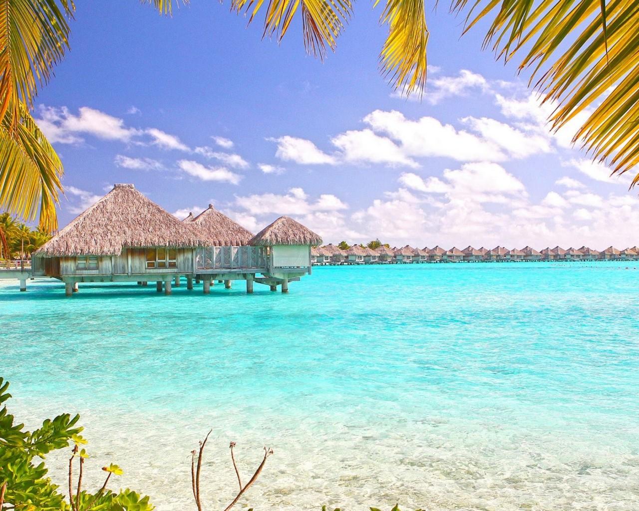 Tropical Beach Bora Bora Polynesia Desktop Wallpaper 1280x1024
