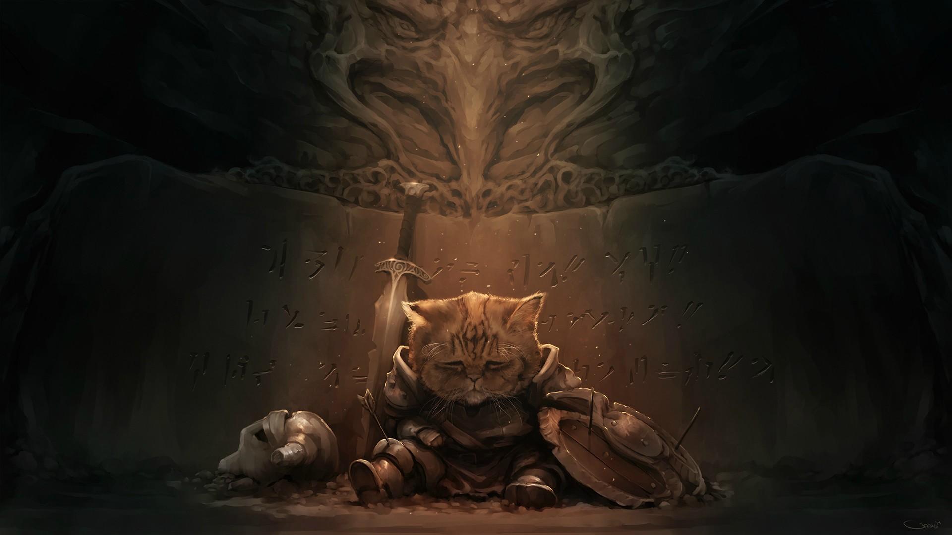 Lirik Darren Geers cat artwork video games Geers Art The 1920x1080