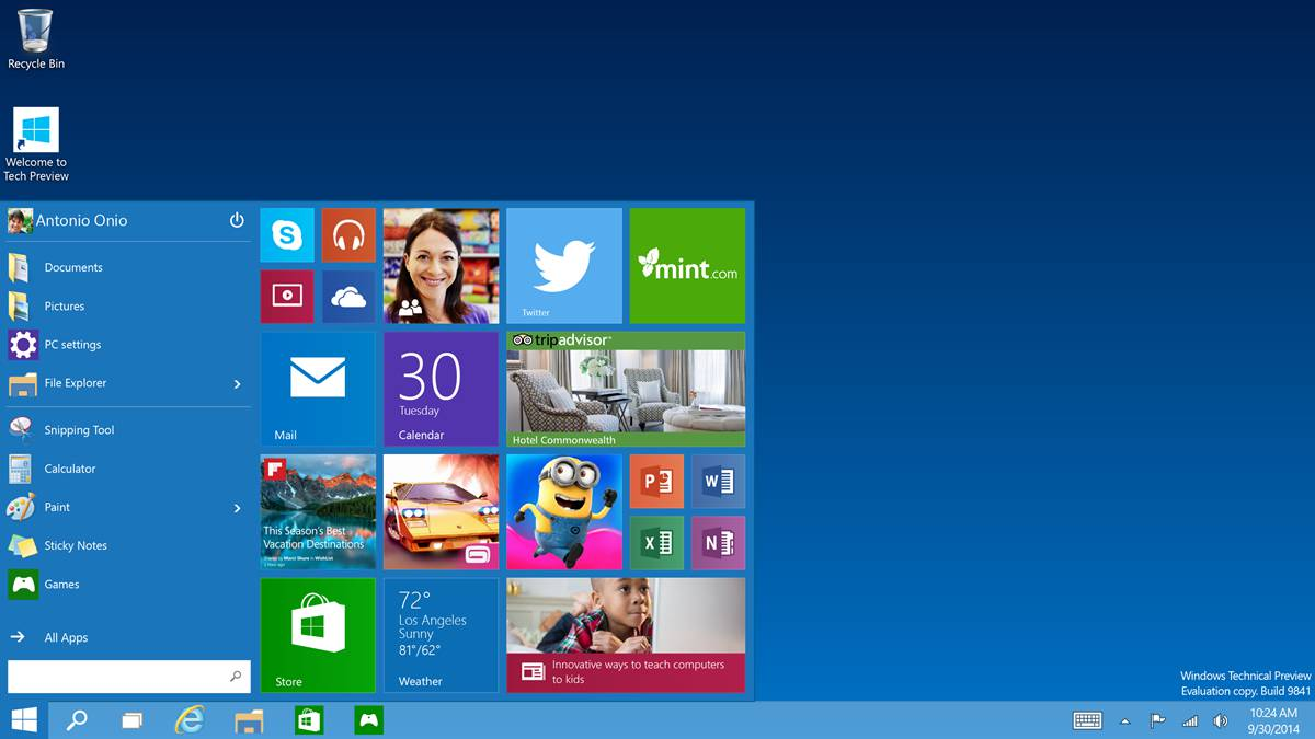 The Start screen mixes the old and the relatively unwanted click to 1200x675