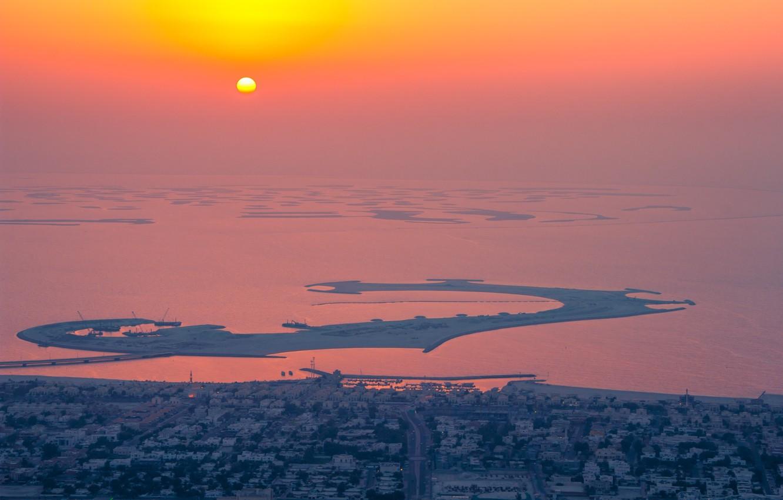 Wallpaper ocean sunset water sun houses orange reflection 1332x850