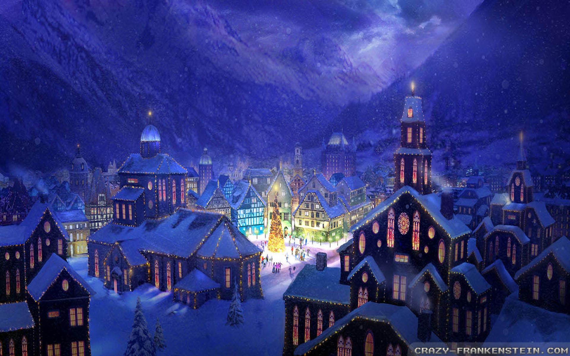 Christmas village background wallpapersafari - Christmas village wallpaper widescreen ...