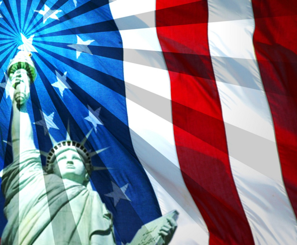 United States of America USA Flag Wallpaper with Libertie Statue 1024x846