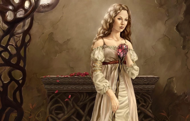 Wallpaper crystal girl wall pink petals white dress long 1332x850