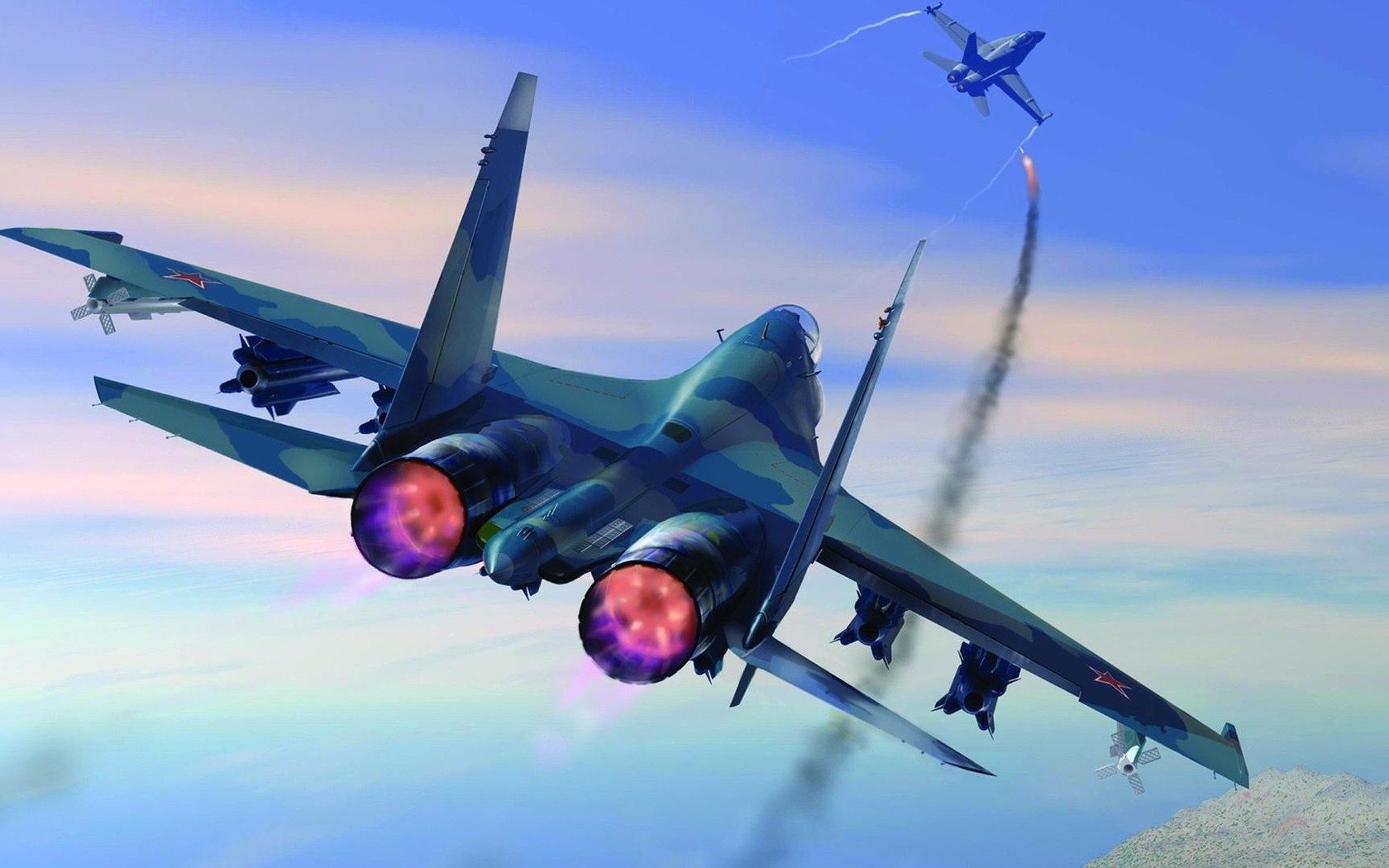 Sukhoi Su 27 shooting down McDonnell Douglas FA 18 Hornet wallpaper 1680x1050