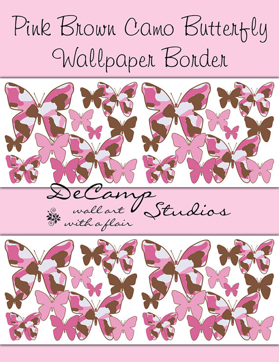 PINK CAMO BUTTERFLY Wallpaper Border Wall Decals Girl Camouflage Baby 570x739