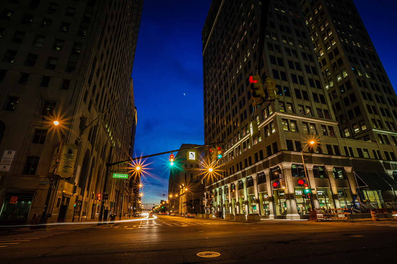 Image Michigan USA Detroit HDR Roads Street night time Cities Houses 1280x853