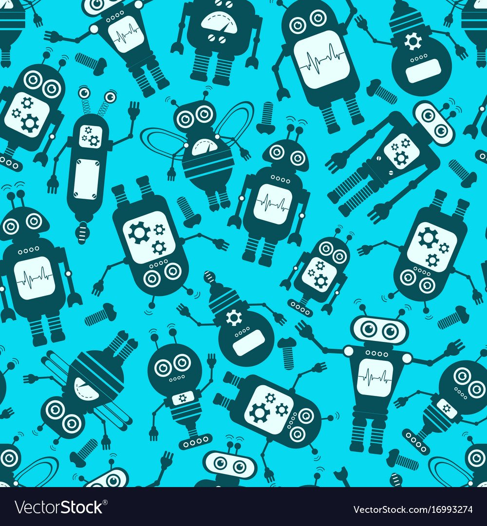 Cartoon robots seamless background Royalty Vector Image 1000x1080