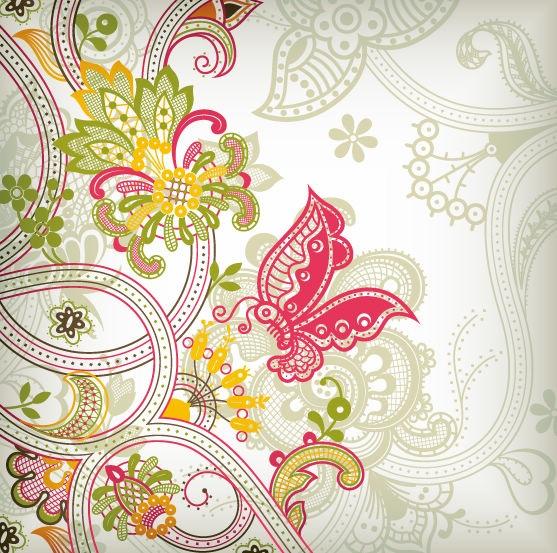 Vintage Flower Pattern Background Vector Art Vector Graphics 557x553