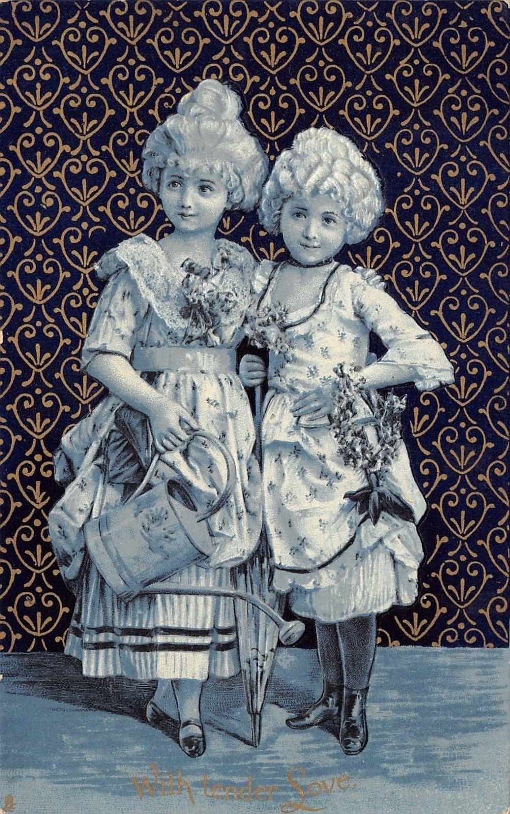 Victorian ValentineElegant GirlsGold Black WallpaperGlossTUCK 1003x1600