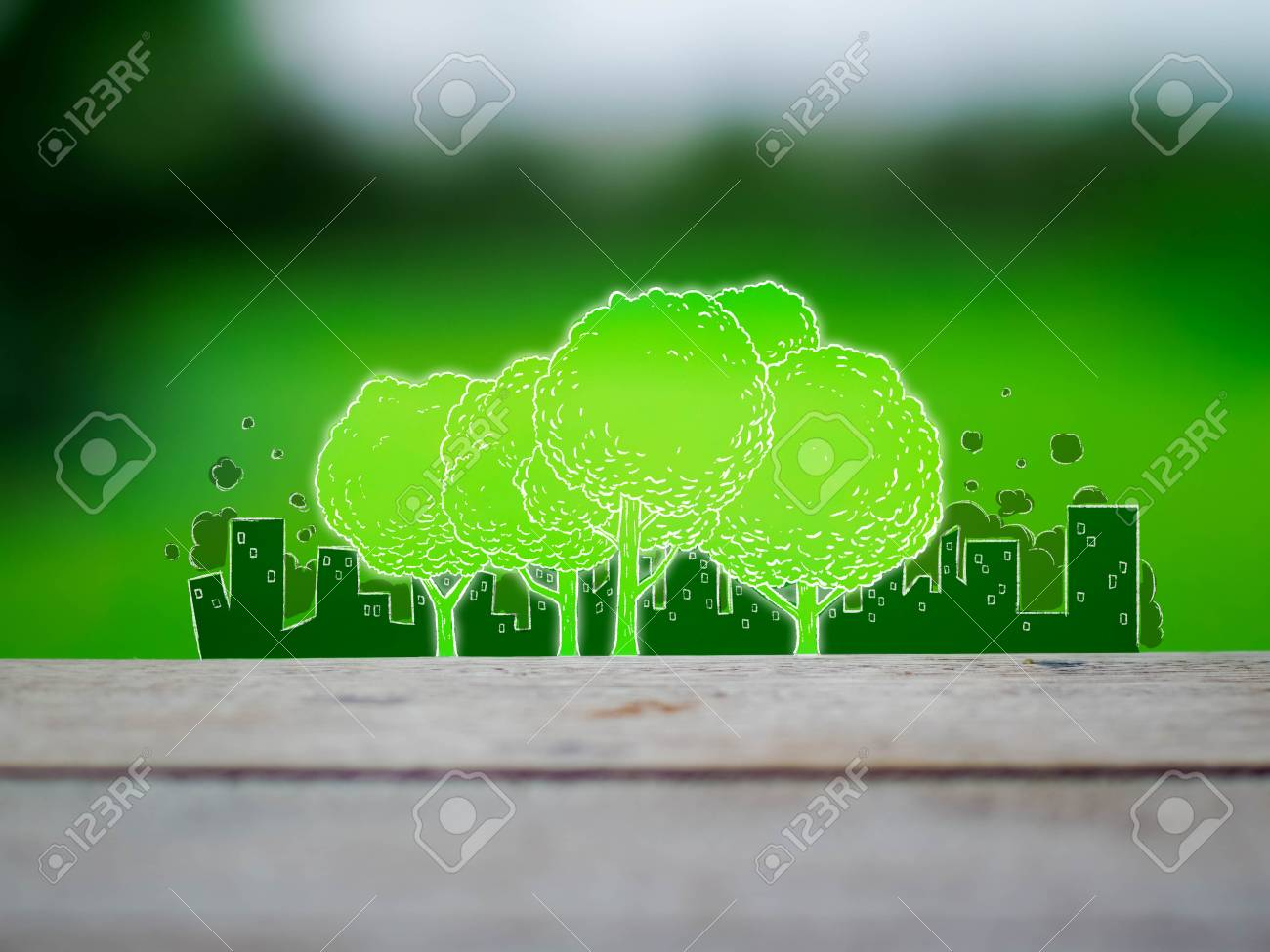 Images Drawing Of Trees With Pollution City Background 1300x975